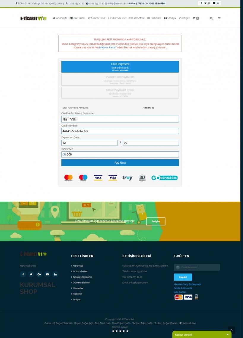 Eticaret paketleri Ödeme Sayfası