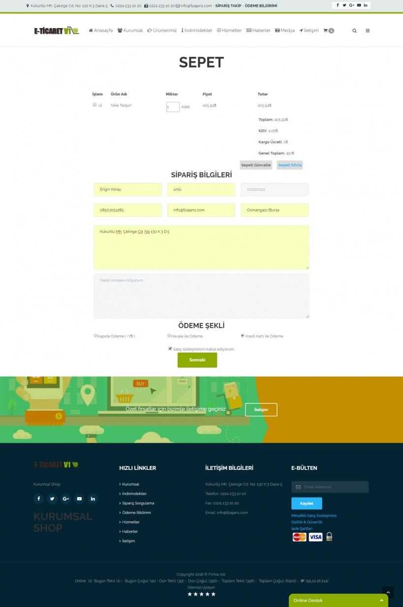 Eticaret sitesi kurmak Sepet Sayfası
