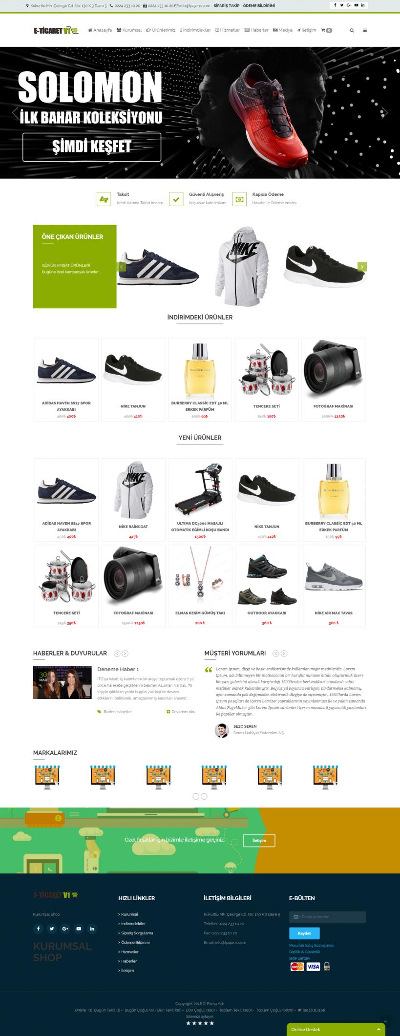 Kurumsal E-Ticaret Ana Sayfa