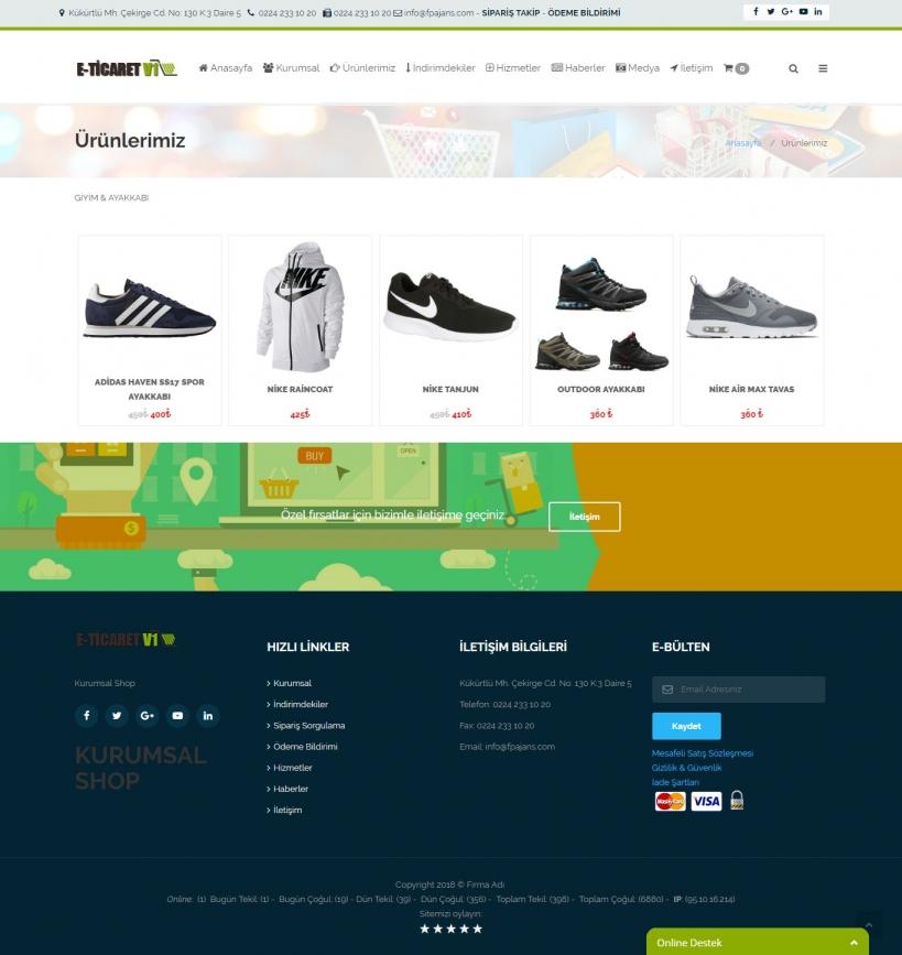 Kurumsal E-ticaret Yazılımı Kategori Gösterimi