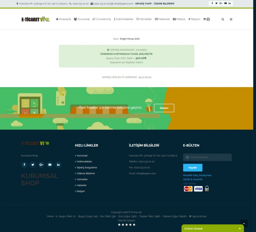 eticaret sitesi fiyatları Sipariş Tamamlandı